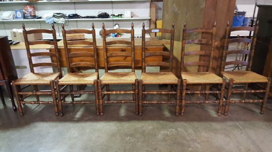 SIX LADDER BACK WOVEN SEAT CHAIRS