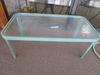 GLASS TOP GREEN FRAME COFFEE TABLE