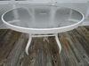 GLASS TOP WITH METAL FRAME UMBRELLA TABLE BY WINSTON