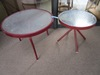 2 RED TRIMMED GLASS TOP SNACK TABLES