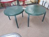 PAIR OF LIGHTWEIGHT GREEN SNACK TABLES