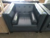 BLUISH GREEN LEATHER LIKE SQUARE HIGH ARM AND BACK CHAIR