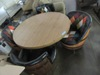 4' ROUND BARREL TABLE WITH BARREL CHAIRS 2 SQUARE BOX TO ROUND IT BACKS
