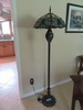 STAINED GLASS STYLE SHADE AND BASE FLOOR LAMP. PLASTIC PANELS