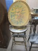 VINTAGE WOOD HIGH CHAIR AND FLORAL ARTWORK