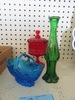 3 ASSORTED COLORED GLASS PIECES