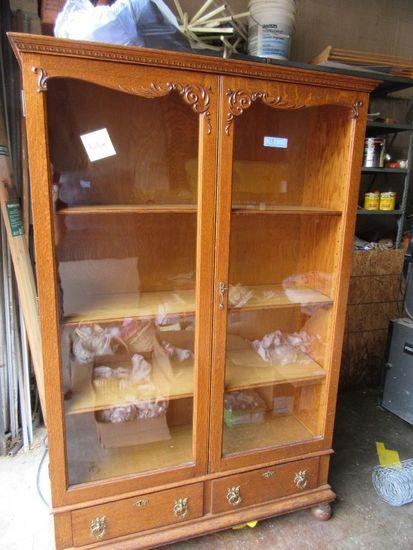 oak bookshelf with glass doors - Oak Bookshelves With Glass Doors