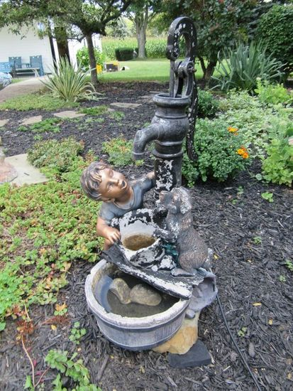 Water Pump Boy And Dog Fountain