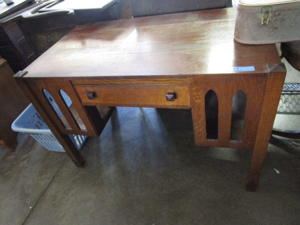 Antique Mission Oak Style Desk With Bookshelf Sides Art Antiques Collectibles Antiques Online Auctions Proxibid