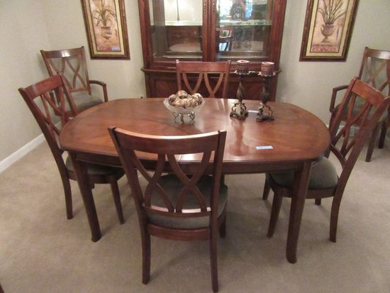 INLAID TABLE WITH ONE LEAF AND MATCHING SET OF 4 CHAIRS AND 2 HOST CHAIRS.