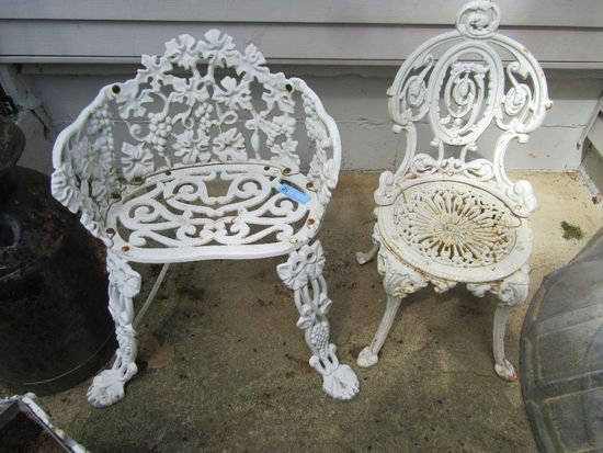 2 CAST IRON OUTDOOR CHAIRS