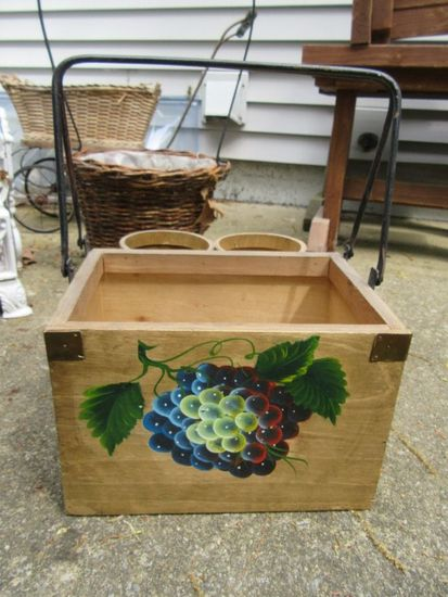 WOODEN BASKET WITH METAL HANDLES