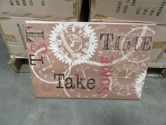12 CASES OF TAKE SOME TIME CANVAS. 12 PIECES PER CASE