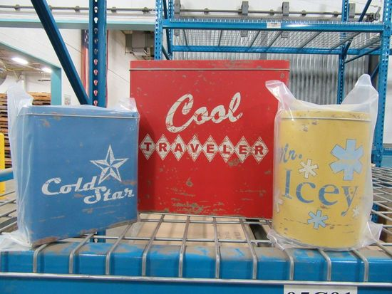 5 CASES OF RETRO COOLER TINS SET OF 3. 6 SETS PER CASE