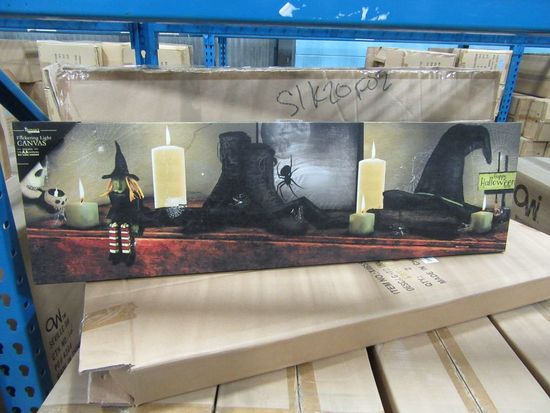 11 CASES OF LIGHTED HALLOWEEN MANTEL CANVAS. 6 PIECES PER CASE