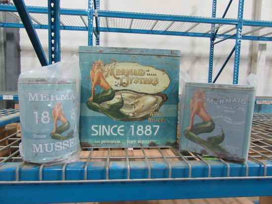 5 CASES OF MERMAID SEAFOOD TINS SET OF 3. 6 SETS PER CASE