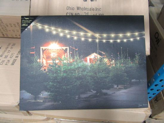 11 CASES OF LIGHTED CHRISTMAS TREE LOT CANVAS. 6 PIECES PER CASE