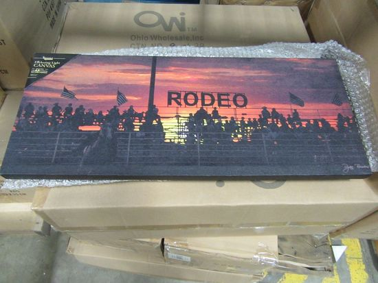 16 CASES OF LIGHTED STAND AT THE RODEO CANVAS. 8 PIECES PER CASE