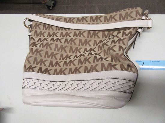 MICHAEL KORS WHITE AND TAN PURSE