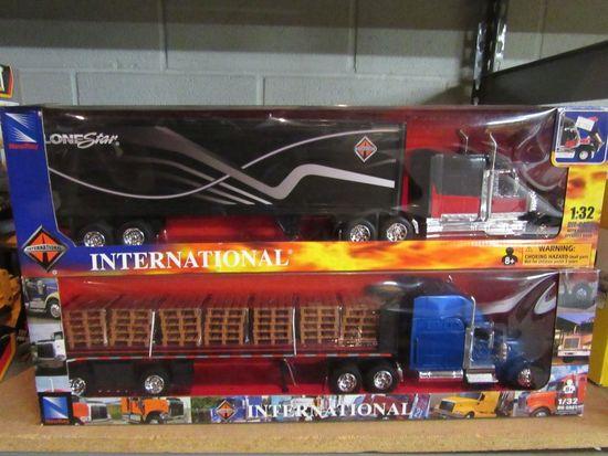 2 NEW RAY INTERNATONAL TRACTOR TRAILERS