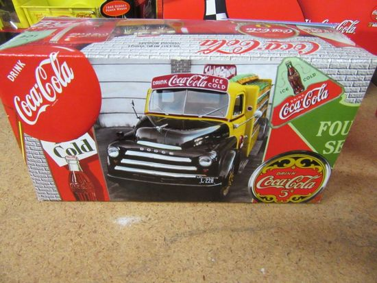 COCA-COLA 1947 PICK UP TRUCK BANK WITH COOLERS, CRATES, AND HANDCART