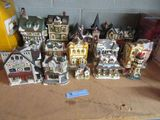 CERAMIC HOUSES, CHRISTMAS SCENE, SOME LEMAXX, SOME COBBLESTONE CORNERS AND