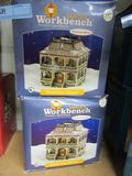 2 SANTA'S WORKBENCH PORCELAIN LIGHTED HOUSES  RIVERVIEW MANOR