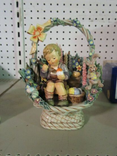 GOEBEL EASTER BASKET 1059-D AND EASTER'S COMING FIGURINE