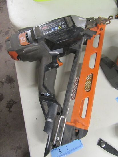RIDGID 18 VOLT FINISH NAILER. MODEL R250AF18. NO BATTERY OR CHARGER