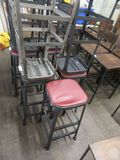 (4) BISTRO STOOLS. ONE IS DAMAGED. WITH ONE EXTRA STOOL THAT HAS GRAY FRAME