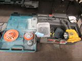 TOOLBOX WITH DEWALT CORDLESS LIGHT, HARDWARE, AND ETC. INCLUDES MAKITA CASE