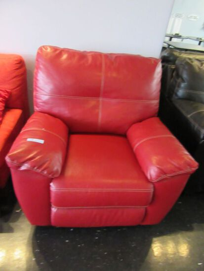 RED FAUX LEATHER ROCKER RECLINER