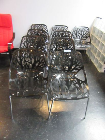 (9) PLASTIC DECORATIVE SEAT AND CHROME LEG CHAIRS