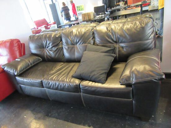 BROWN FAUX-LEATHER THREE CUSHION SOFA