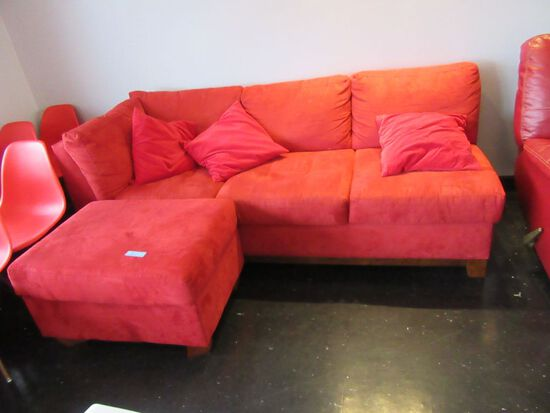 SOFA AND OTTOMAN IN RED VELOUR