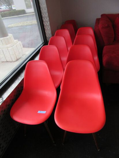 (10) RED PLASTIC CHAIRS