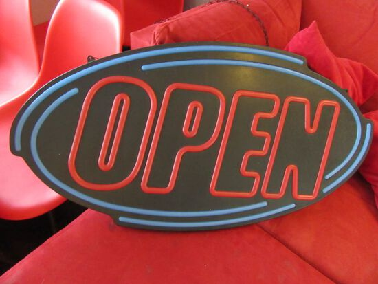 HANGING LIGHTED OPEN SIGN