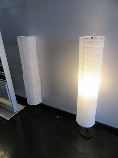 PAIR OF LANTERN SHADE FLOOR LAMPS