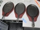 (3) WINCO CAST IRON 2-PIECE FAJITA PAN SET