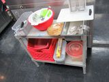 LOT OF ASSORTED UTENSILS INCLUDING PLASTICWARE AND DISH PANS AND ETC