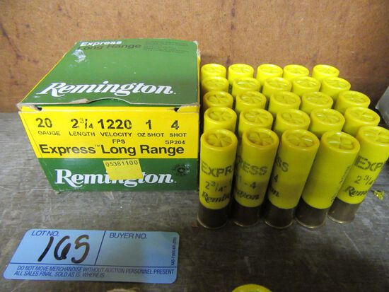 1 BOX OF 20 20 GAUGE 2-3/4 INCH 4 SHOT REMINGTON LONG RANGE SHOTGUN SHELLS.