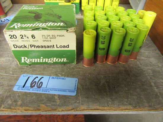 24 20 GAUGE 2-3/4 INCH 6 SHOT REMINGTON DUCK PHEASANT LOAD SHOTGUN SHELLS W