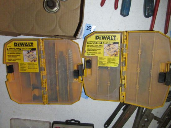 DEWALT CASE CONTAINERS WITH SCREW GUN DRIVERS AND DRILL BITS