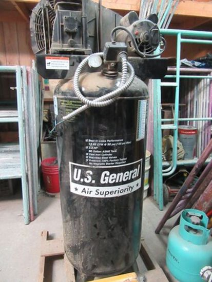 US GENERAL MODEL US660V AIR COMPRESSOR 3.5 HORSEPOWER 220 VOLT SINGLE PHASE