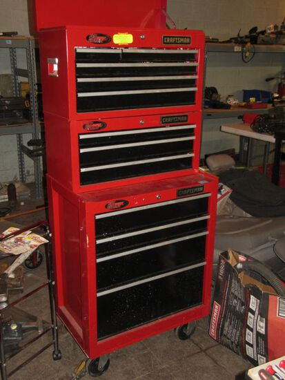 CRAFTSMAN ROLLABOUT STACKING TOOL BOX. APPROXIMATELY 5 FOOT HIGH