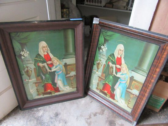 2 METAL RELIGIOUS PRINTS. APPROXIMATELY 2 FOOT WIDE BY 2-1/2 FOOT TALL