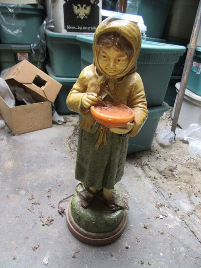 HEAVY FIGURINE LAMP. APPROXIMATELY 2 FOOT TALL