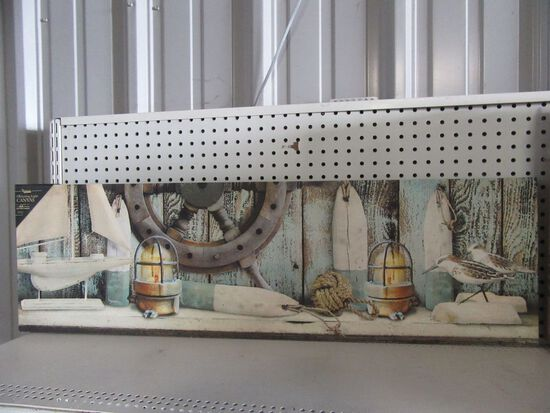 1 CASE (4 PIECES) OF LIGHTED VINTAGE SEASIDE MANTLE CANVAS