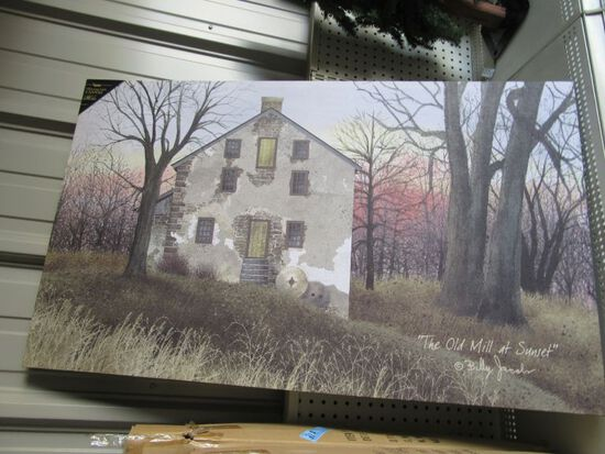 1 CASE (4 PIECES) OF LIGHTED OLD MILL AT SUNSET CANVAS