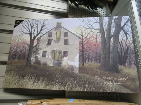 3 LIGHTED OLD MILL AT SUNSET CANVASES